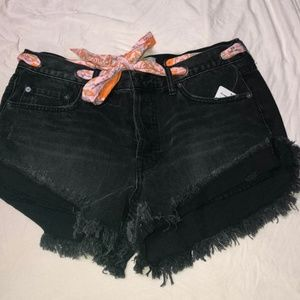 Free People Womens New Black Sashed Frayed
